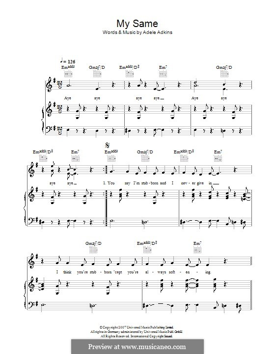 My Same: For voice and piano (or guitar) by Adele