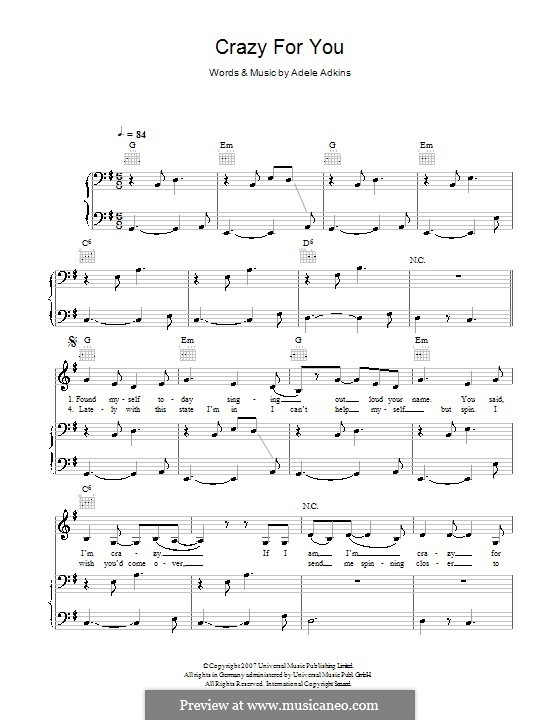 Crazy For You By Adele Sheet Music On Musicaneo