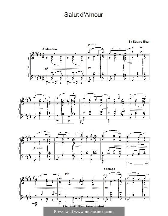 Salut d'amour (Love's Greeting), Op.12: For piano by Edward Elgar