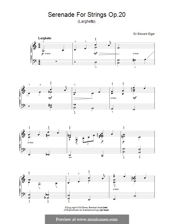 Serenade for String Orchestra, Op.20: Movement II. Version for piano by Edward Elgar
