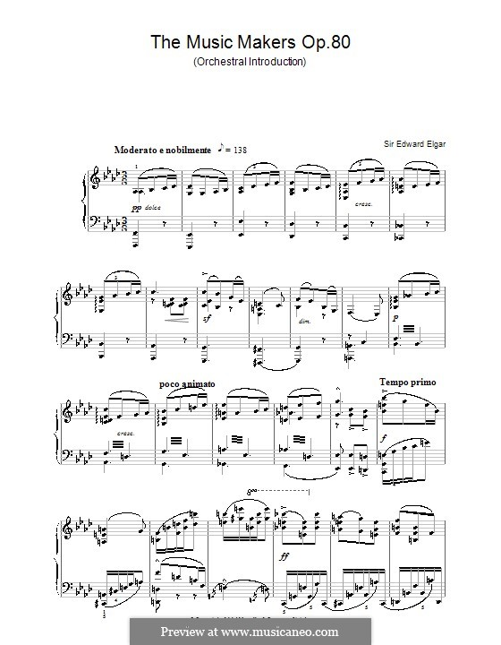 The Music Makers, Op.69: Fragment, for piano by Edward Elgar