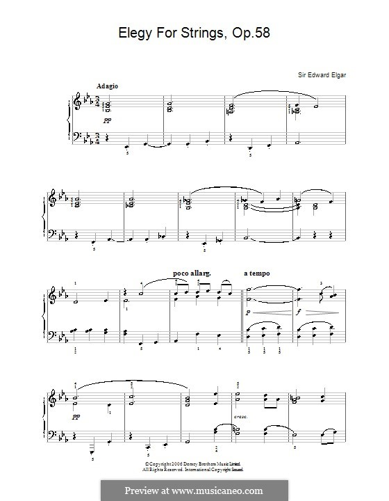Elegy for String Orchestra, Op.58: Version for easy piano by Edward Elgar