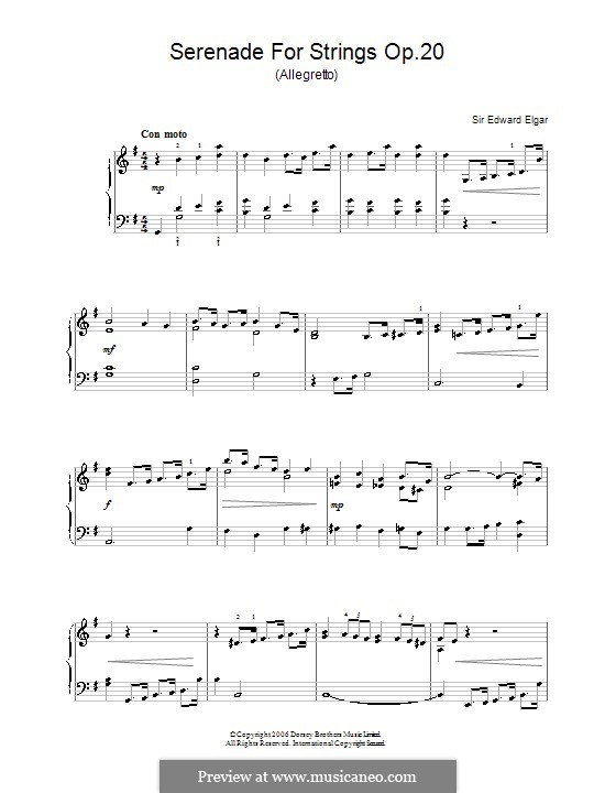 Serenade for String Orchestra, Op.20: Movement III. Version for piano by Edward Elgar