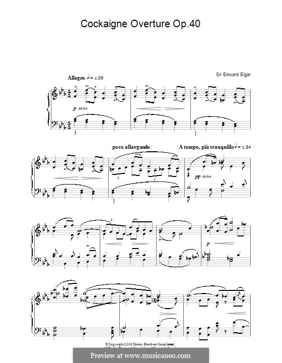 Cockaigne (In London Town), Op.40: Theme, for piano by Edward Elgar