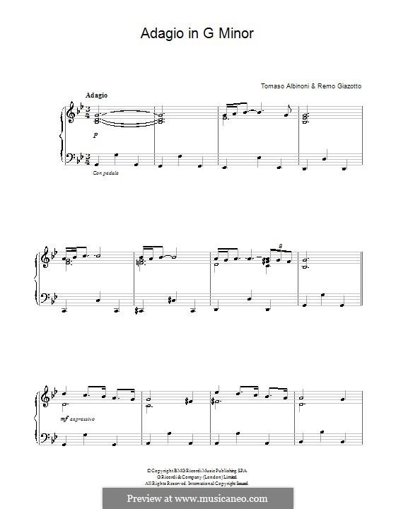 Adagio: For piano by Tomaso Albinoni, Remo Giazotto