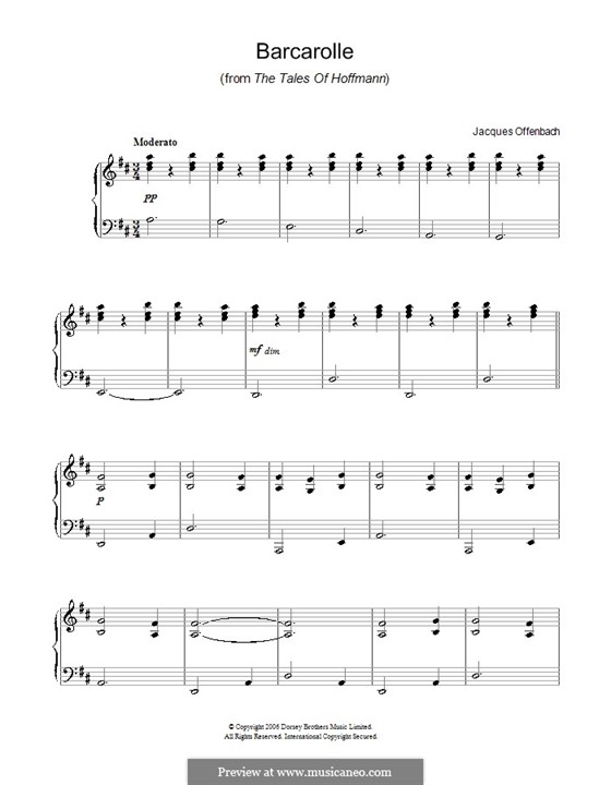 Barcarole: Version for easy piano by Jacques Offenbach