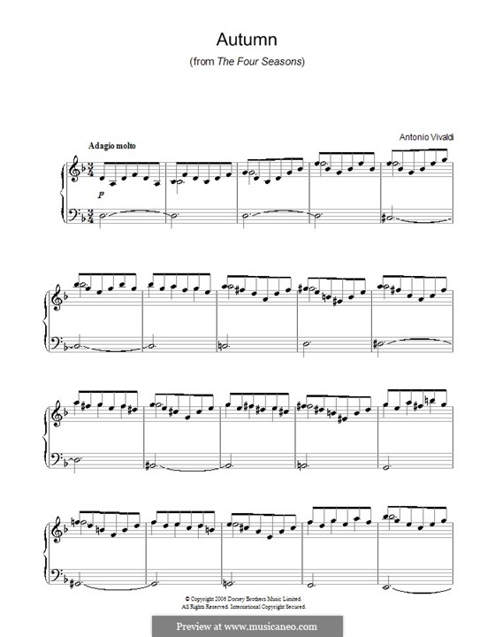 Violin Concerto No.3 in F Major 'L'autunno', RV 293: Movement II. Arrangement for piano by Antonio Vivaldi