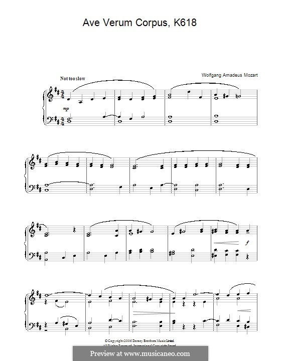 Ave verum corpus, K.618: Version for easy piano by Wolfgang Amadeus Mozart