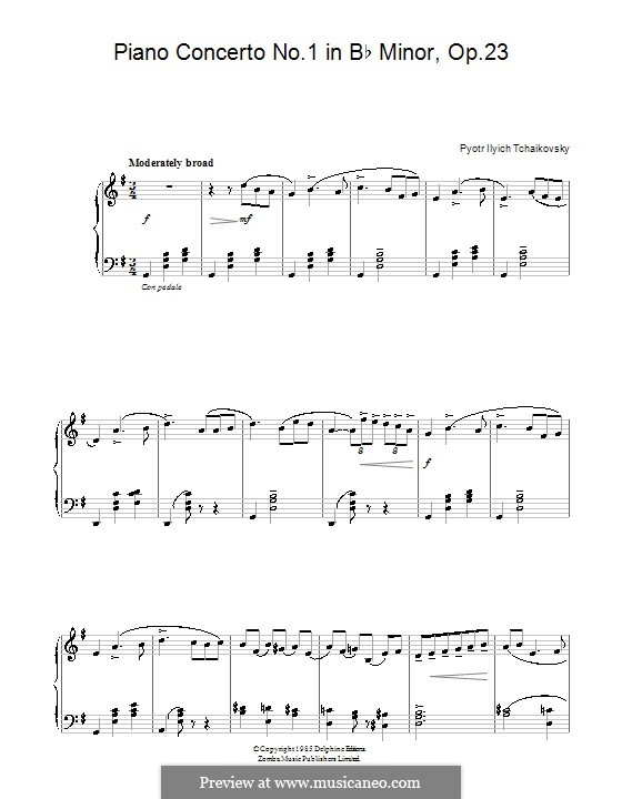 Concerto for Piano and Orchestra No.1 in B Flat Minor, TH 55 Op.23: Movement I (Theme). Version for easy piano by Pyotr Tchaikovsky