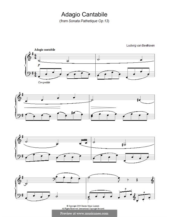 Movement II: Version for easy piano by Ludwig van Beethoven