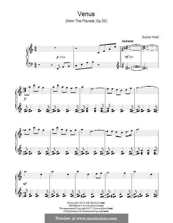Venus: Version for piano by Gustav Holst