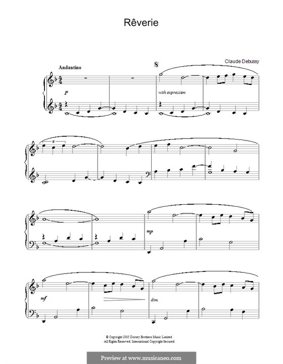 Rêverie, L.68: For easy piano by Claude Debussy
