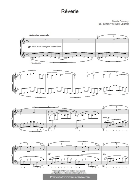 Rêverie, L.68: For piano (with fingering) by Claude Debussy