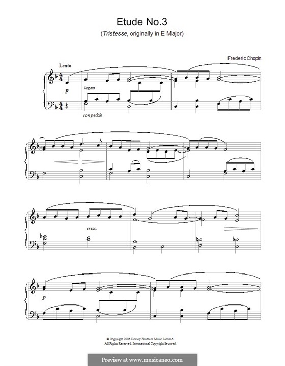 No.3 in E Major: For piano (F Major) by Frédéric Chopin