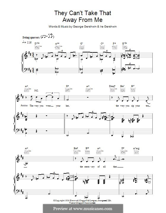 They Can't Take That Away from Me: For voice and piano or guitar (Robbie Williams) by George Gershwin