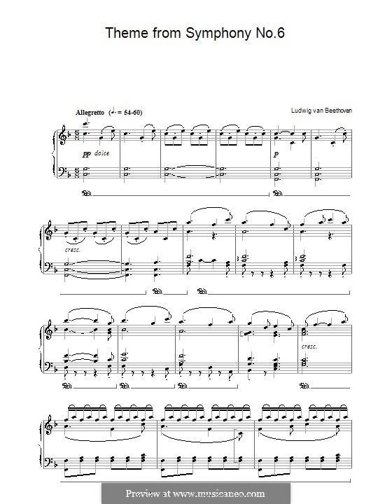 Movement V. The Shepherd's Song: Version for piano by Ludwig van Beethoven