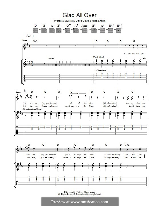 Glad All Over (The Dave Clark Five): For guitar with tab by Dave Clark, Larry Michael  Smith