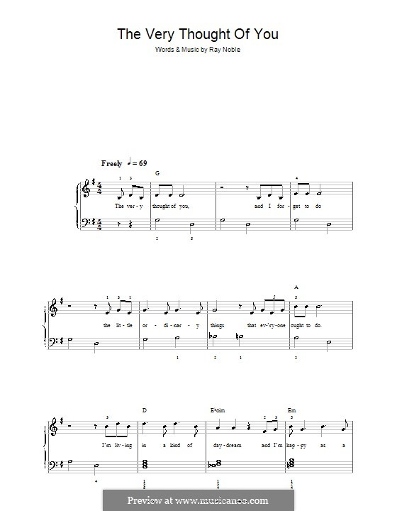 The Very Thought of You: For easy piano by Ray Noble