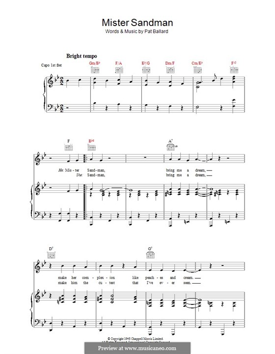 Mister Sandman (The Chordettes): For voice and piano (or guitar) by Pat Ballard