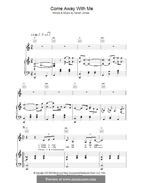 Come Away with Me: For voice and piano (or guitar) by Norah Jones