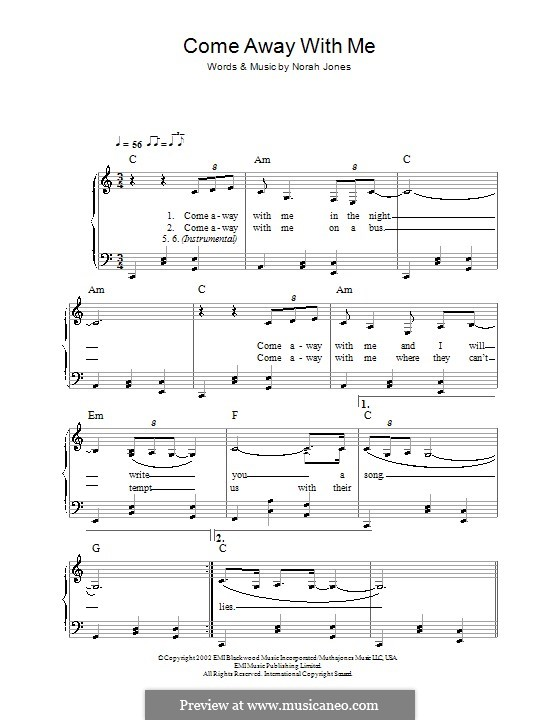 Come Away with Me: For easy piano by Norah Jones