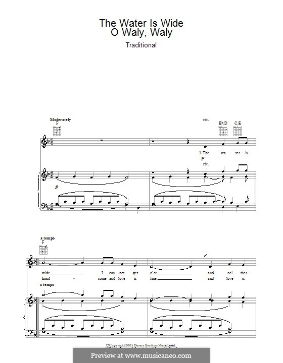 The Water is Wide: For voice and piano or guitar (F Major) by folklore