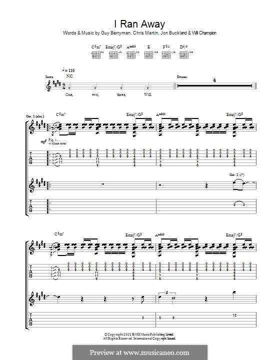 I Ran Away (Coldplay): For guitar with tab by Chris Martin, Guy Berryman, Jonny Buckland, Will Champion