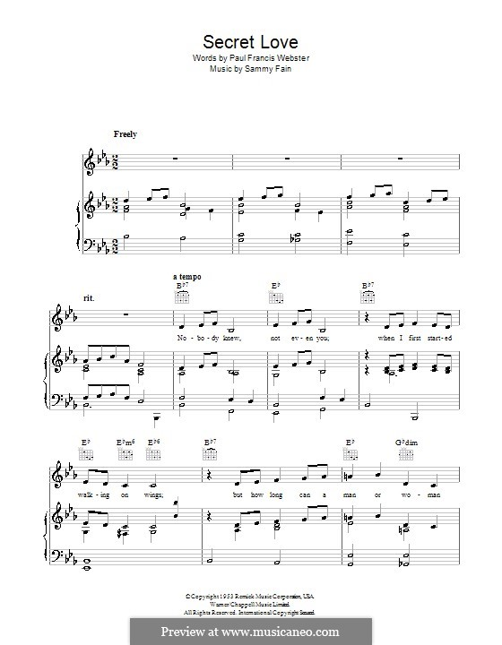 Secret Love: For voice and piano (or guitar) by Sammy Fain