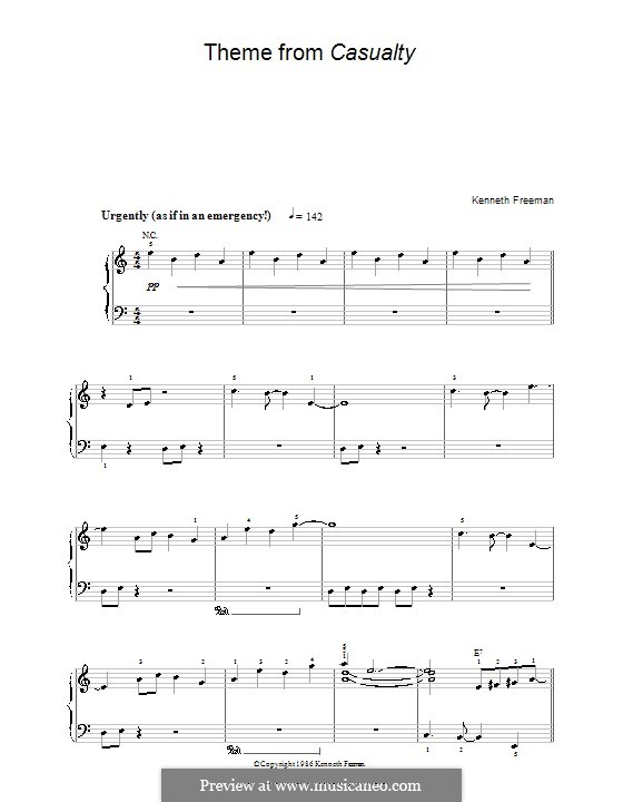 Theme from Casualty: For easy piano by Kenneth Freeman