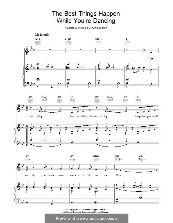 The Best Things Happen While You're Dancing: For voice and piano (or guitar) by Irving Berlin