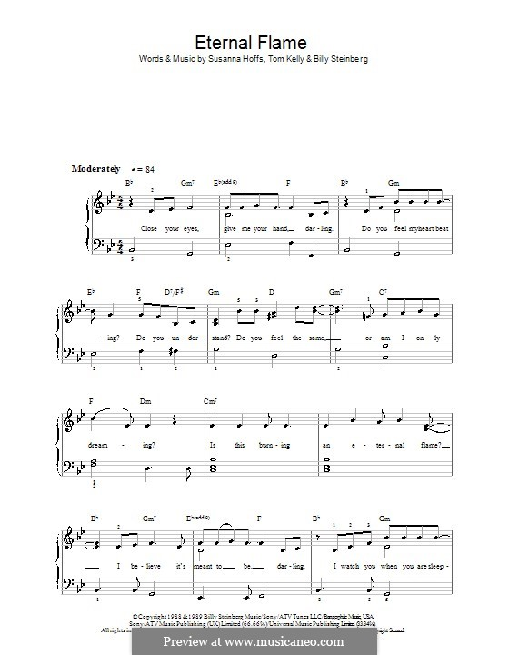 Eternal Flame: For easy piano by Billy Steinberg, Susanna Hoffs, Tom Kelly