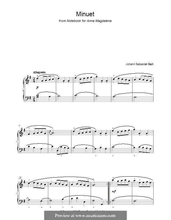 No.4 Minuet in G Major, for Piano: For a single performer by Johann Sebastian Bach