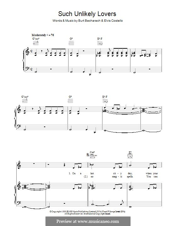 Such Unlikely Lovers: For voice and piano (or guitar) by Burt Bacharach