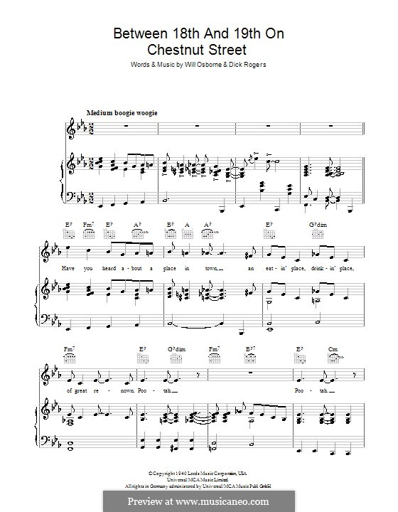 Between 18th and 19th on Chestnut Street (Bing Crosby): For voice and piano (or guitar) by Dick Rogers, Will Osborne