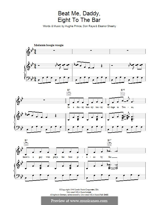 Beat Me Daddy, Eight to the Bar (The Andrews Sisters): For voice and piano (or guitar) by Don Raye, Eleanor Sheehy, Hughie Prince