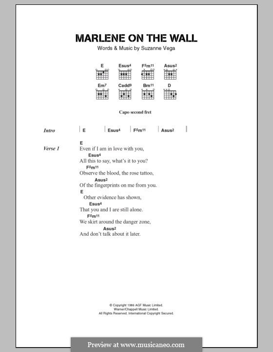 Marleneon the Wall by S. Vega - sheet music on MusicaNeo