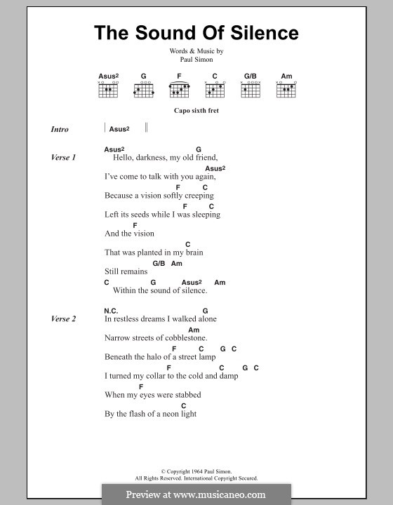 The Sound of Silence (Simon & Garfunkel): Lyrics and chords by Paul Simon
