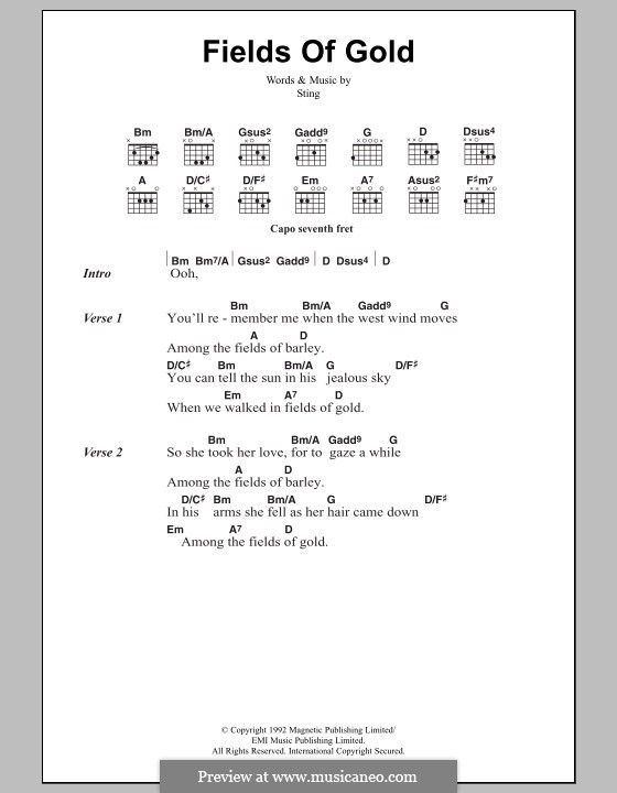 Fields Of Gold By Sting Sheet Music On Musicaneo