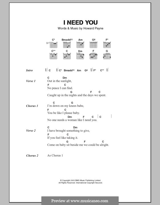 I Need You (The Stands): Lyrics and chords by John Howard Payne