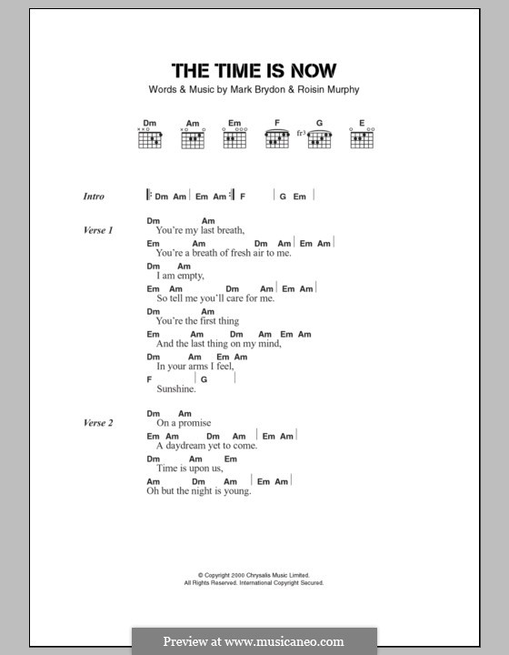 The Time Is Now (Moloko): Lyrics and chords by Mark Brydon, Roisin Murphy