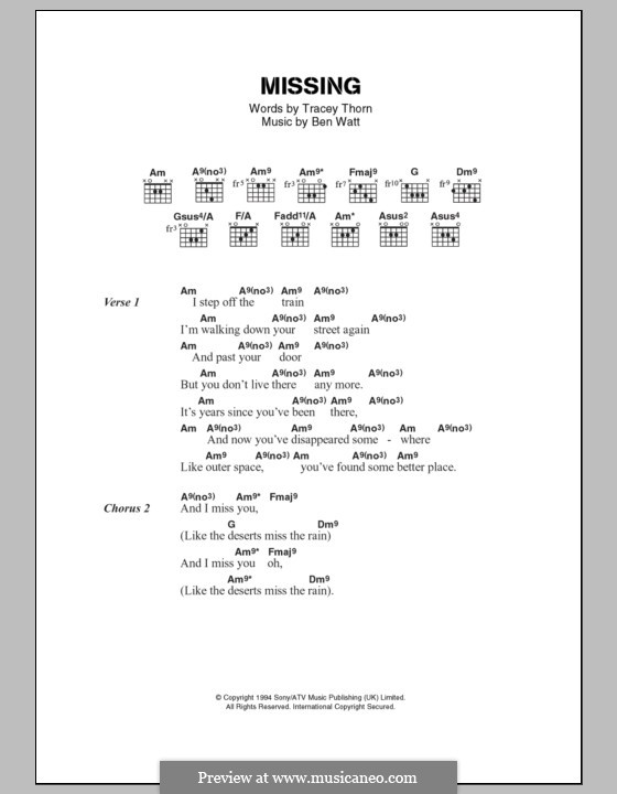 Missing (Everything But the Girl) by B. Watt - sheet music on MusicaNeo