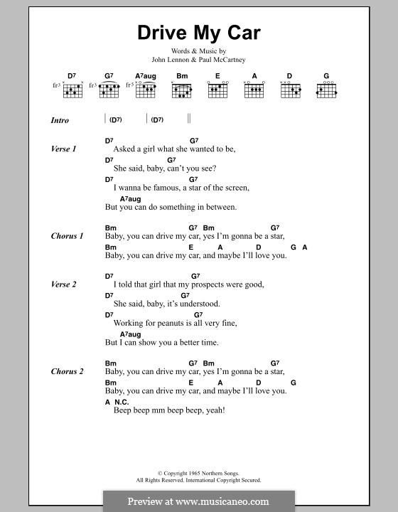 Drive My Car (The Beatles): Lyrics and chords by John Lennon, Paul McCartney