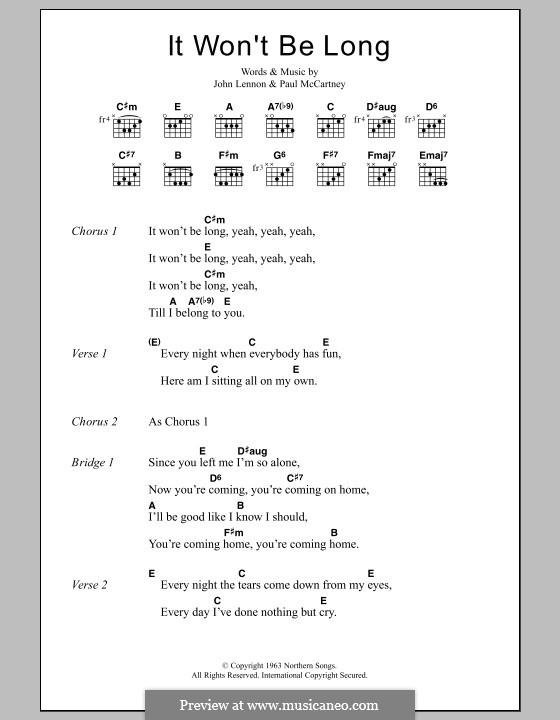 It Won't Be Long (The Beatles): Lyrics and chords by John Lennon, Paul McCartney