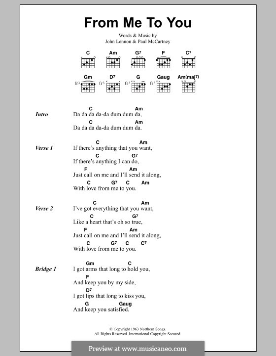 From Me to You (The Beatles): Lyrics and chords by John Lennon, Paul McCartney