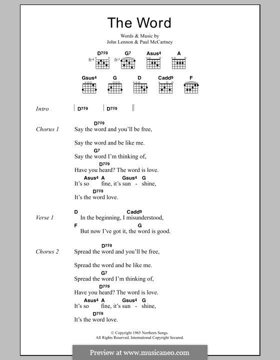 The Word (The Beatles): Lyrics and chords by John Lennon, Paul McCartney