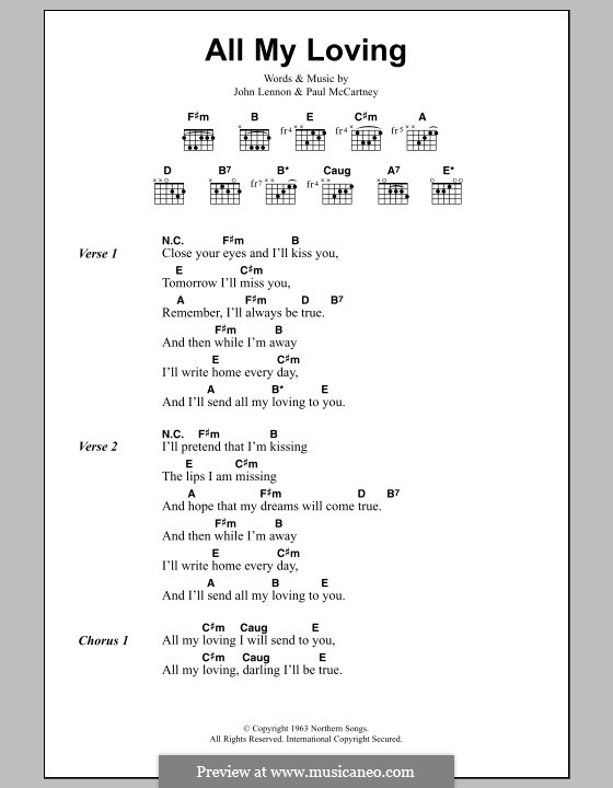 All My Loving (The Beatles): Lyrics and chords by John Lennon, Paul McCartney