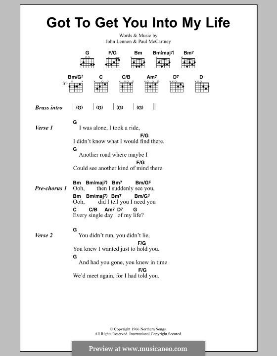Got To Get You Into My Life (The Beatles): Lyrics and chords by John Lennon, Paul McCartney