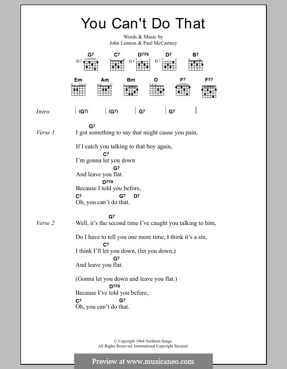 You Can't Do That (The Beatles): Lyrics and chords by John Lennon, Paul McCartney