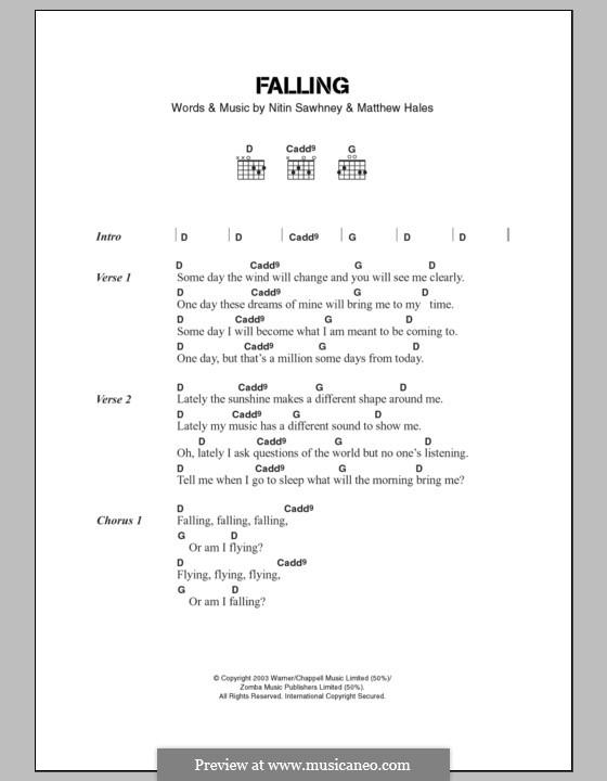 Falling: Lyrics and chords by Matthew Hales