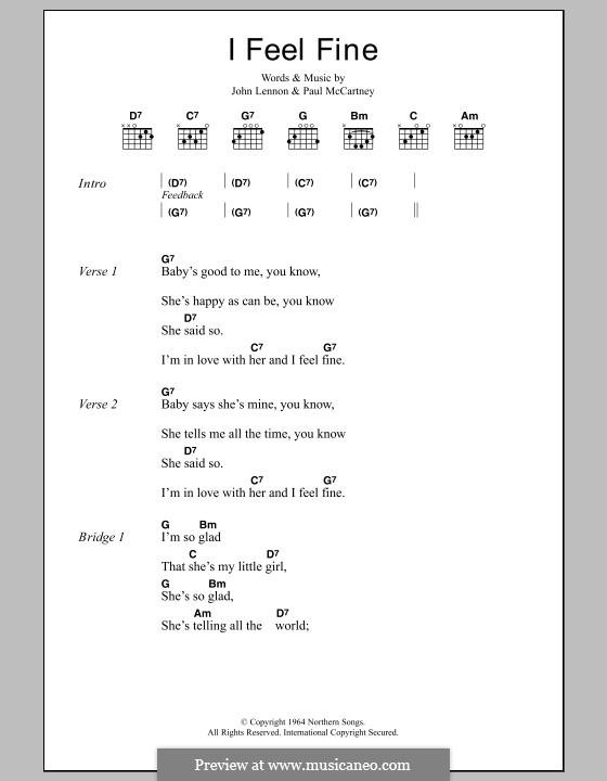 I Feel Fine (The Beatles): Lyrics and chords by John Lennon, Paul McCartney